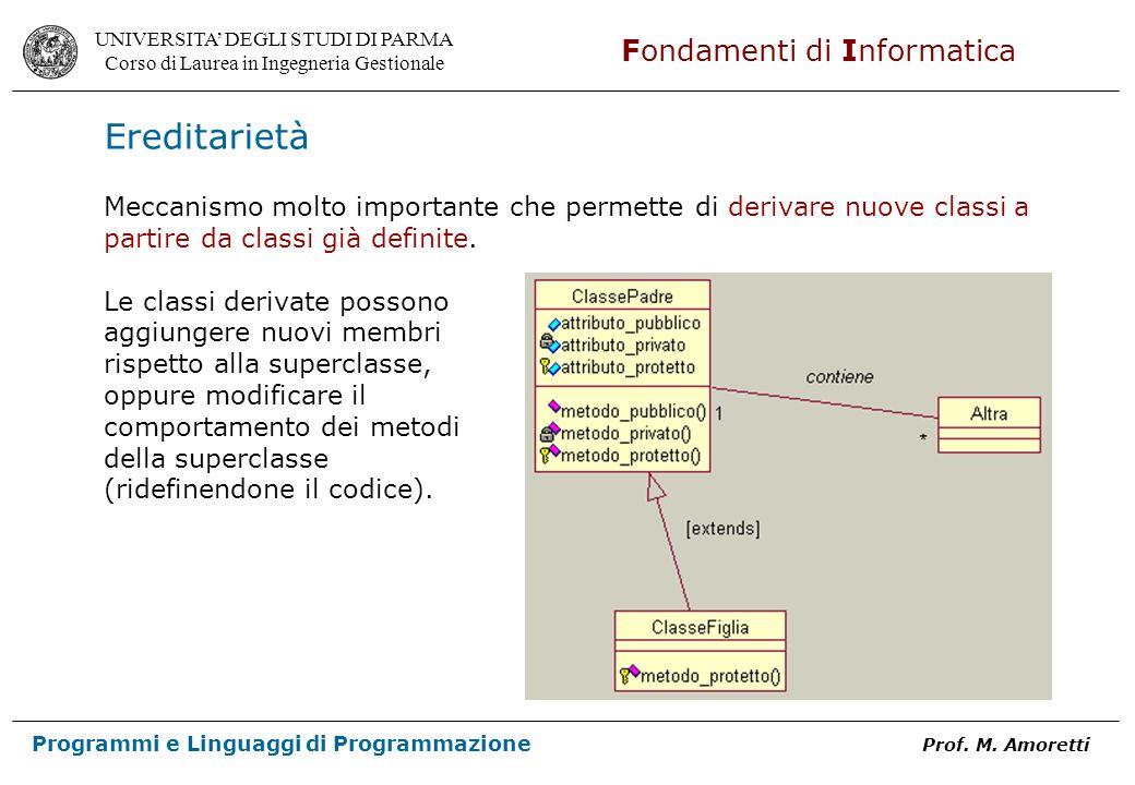 EreditarietàMeccanismo molto importante che permette di derivare nuove classi a partire da classi già definite.