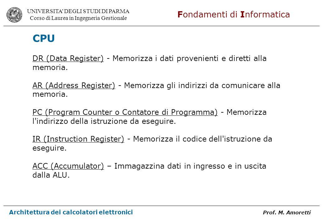 CPU DR (Data Register) - Memorizza i dati provenienti e diretti alla