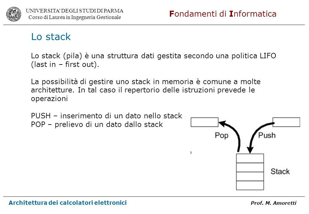Lo stack Lo stack (pila) è una struttura dati gestita secondo una politica LIFO (last in – first out).