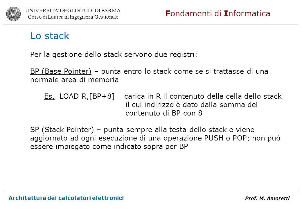 Lo stack Per la gestione dello stack servono due registri: