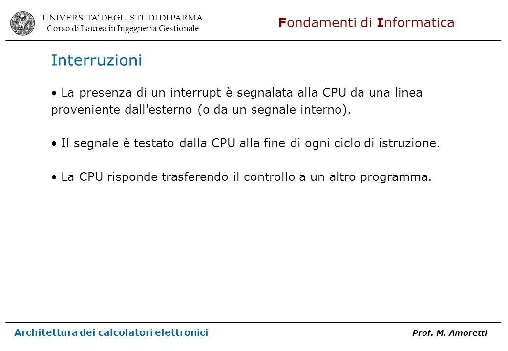Interruzioni La presenza di un interrupt è segnalata alla CPU da una linea proveniente dall esterno (o da un segnale interno).