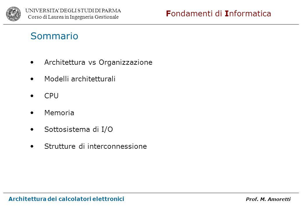Sommario Architettura vs Organizzazione Modelli architetturali CPU