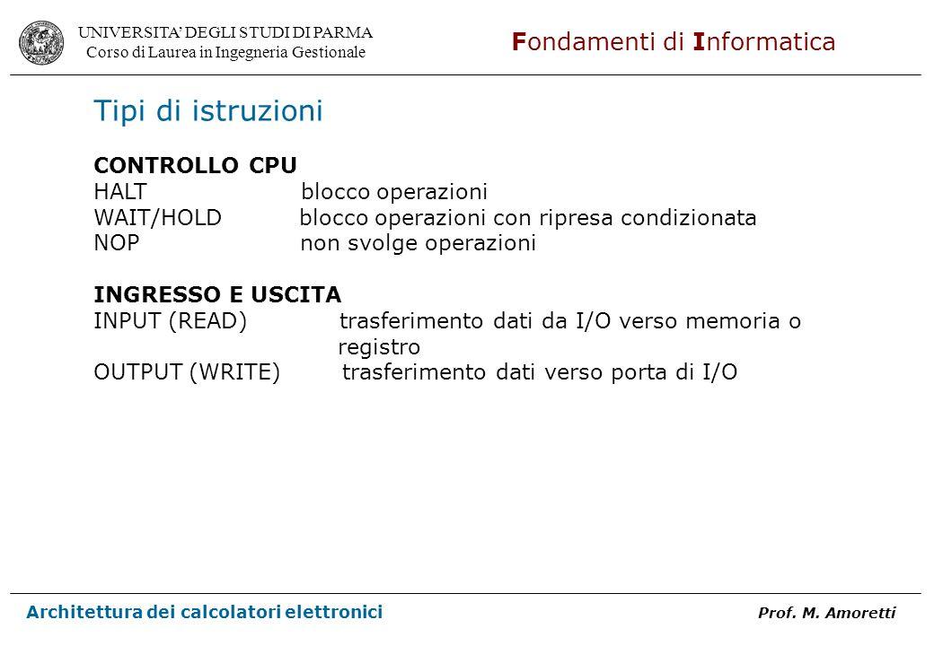 Tipi di istruzioni CONTROLLO CPU HALT blocco operazioni