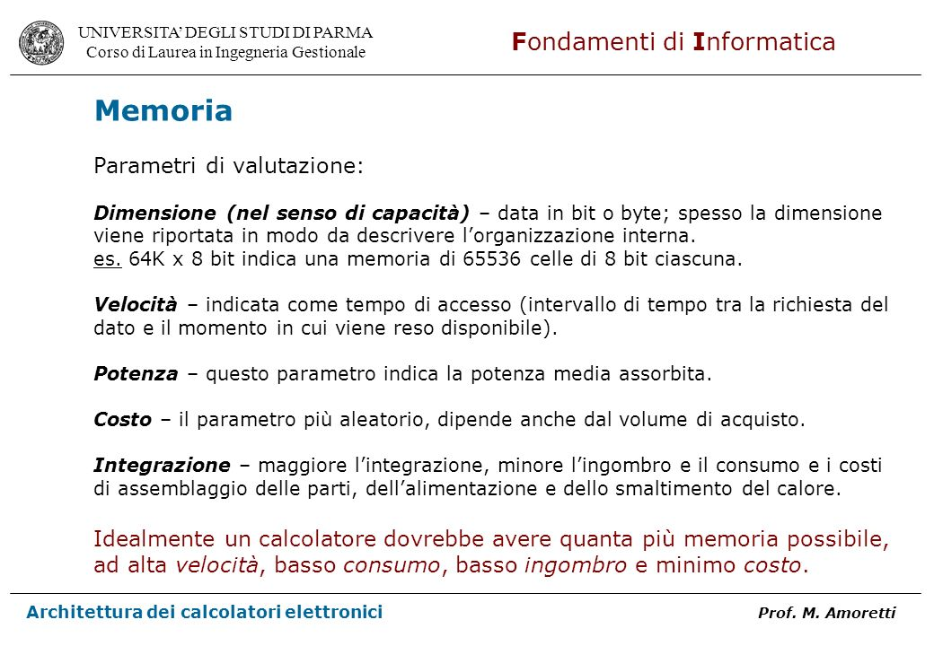 Memoria Parametri di valutazione: