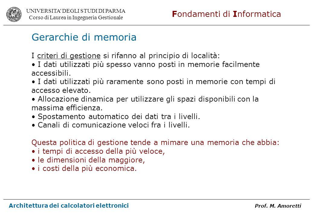 Gerarchie di memoria I criteri di gestione si rifanno al principio di località: