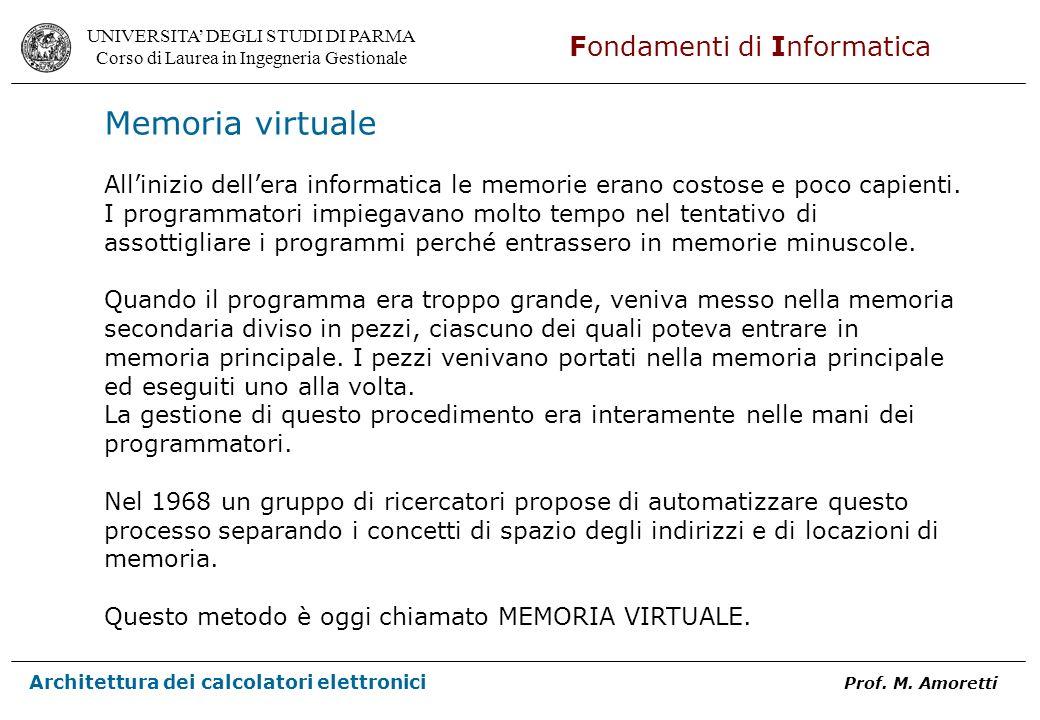 Memoria virtualeAll'inizio dell'era informatica le memorie erano costose e poco capienti. I programmatori impiegavano molto tempo nel tentativo di.