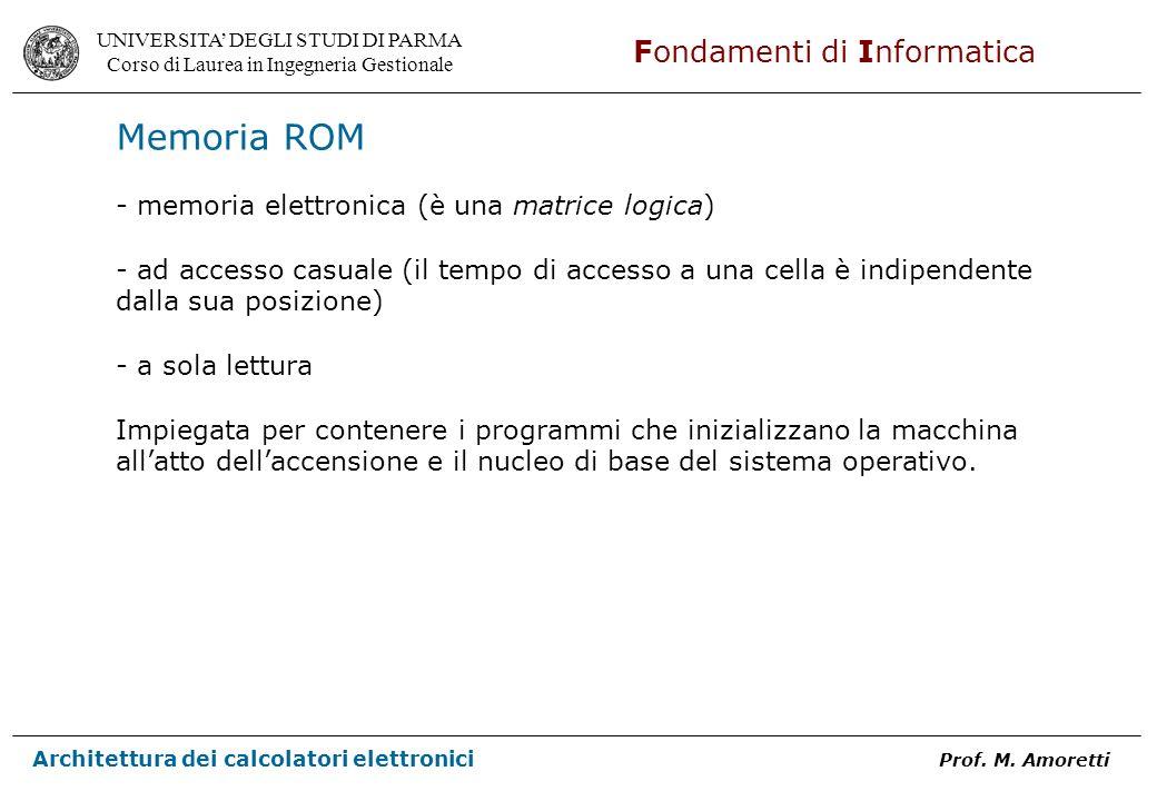 Memoria ROM - memoria elettronica (è una matrice logica)