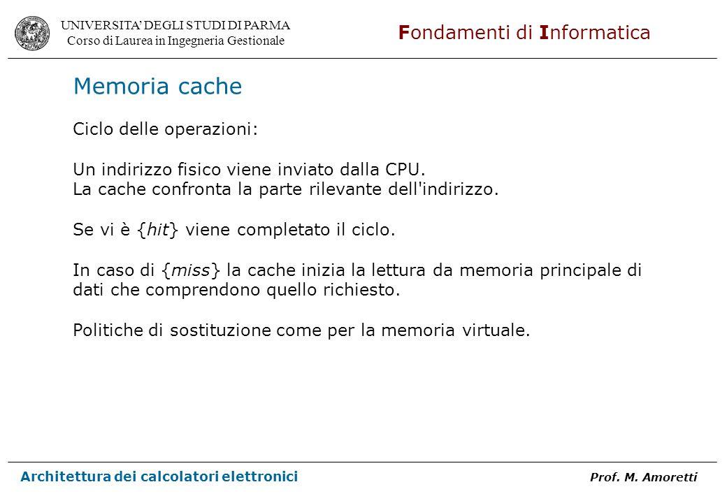 Memoria cache Ciclo delle operazioni: