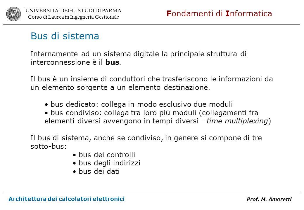 Bus di sistema Internamente ad un sistema digitale la principale struttura di interconnessione è il bus.