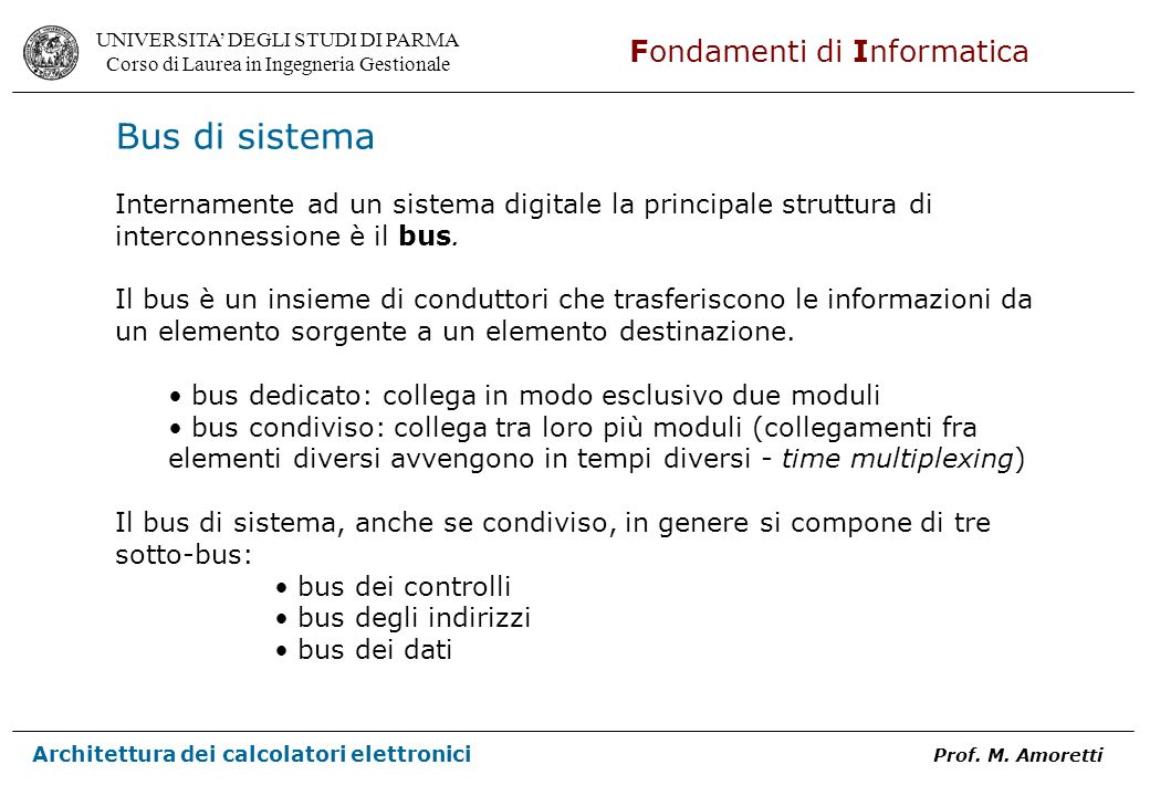Bus di sistemaInternamente ad un sistema digitale la principale struttura di interconnessione è il bus.