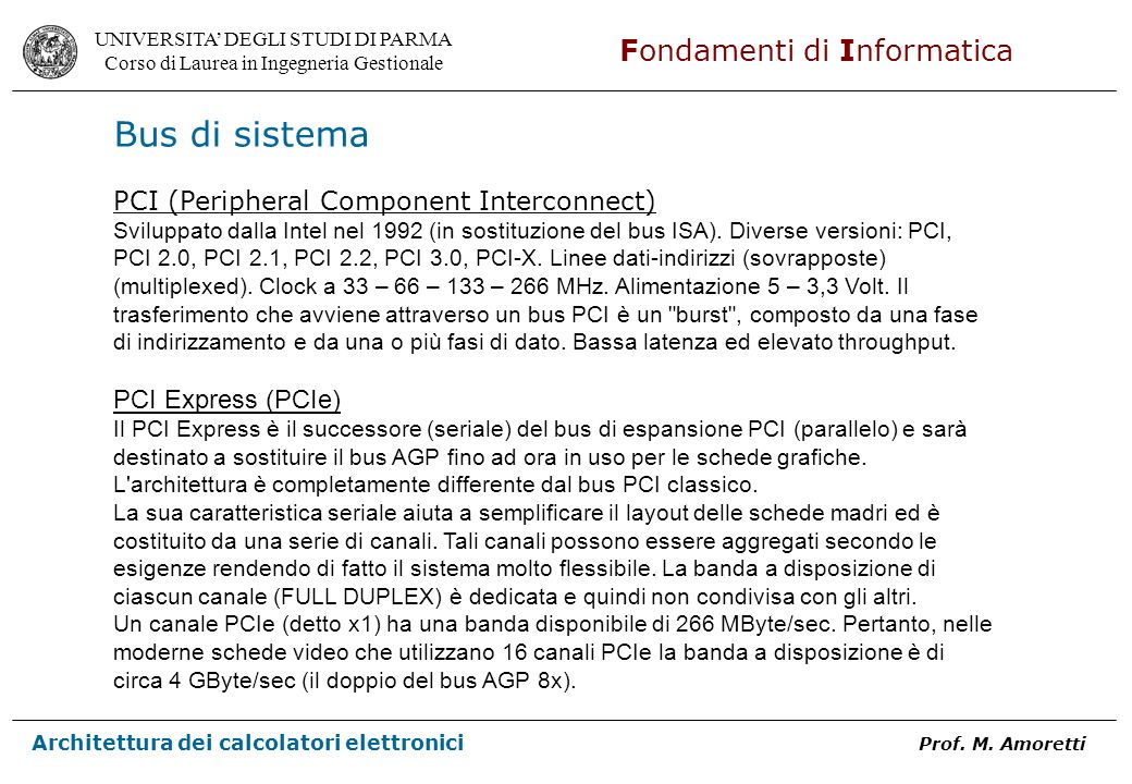 Bus di sistema PCI (Peripheral Component Interconnect)