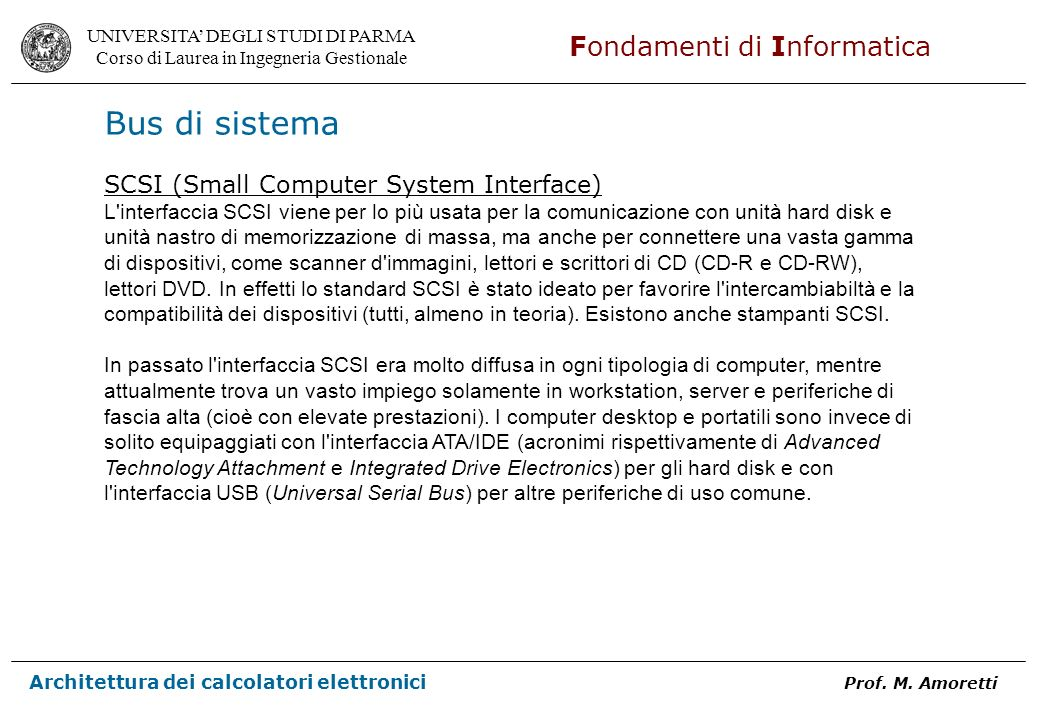 Bus di sistema SCSI (Small Computer System Interface)