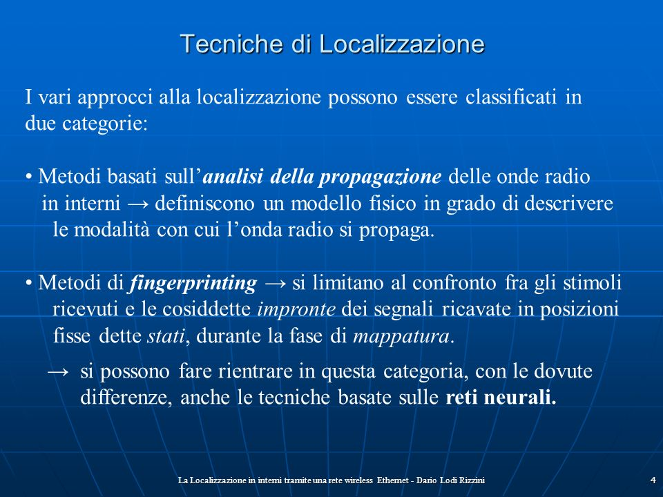 Tecniche di Localizzazione
