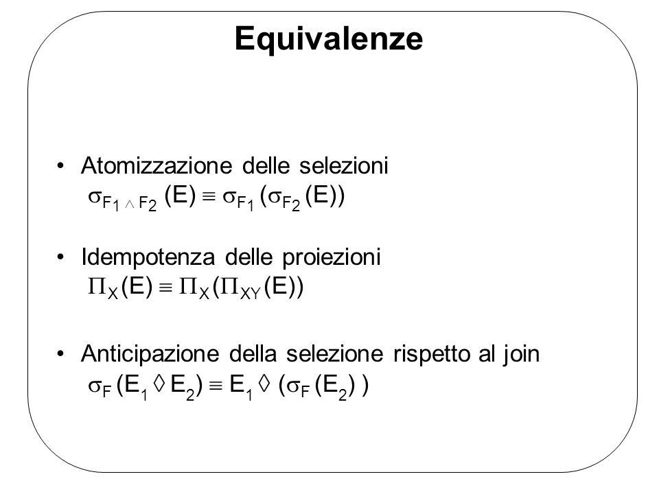 Equivalenze Atomizzazione delle selezioni F1  F2 (E)  F1 (F2 (E))