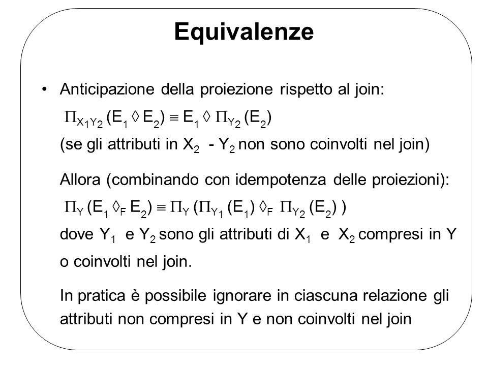 Equivalenze Anticipazione della proiezione rispetto al join: X1Y2 (E1  E2)  E1  Y2 (E2)