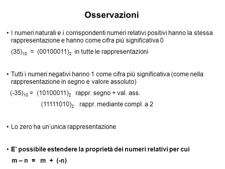 Osservazioni I numeri naturali e i corrispondenti numeri relativi positivi hanno la stessa rappresentazione e hanno come cifra più significativa 0.