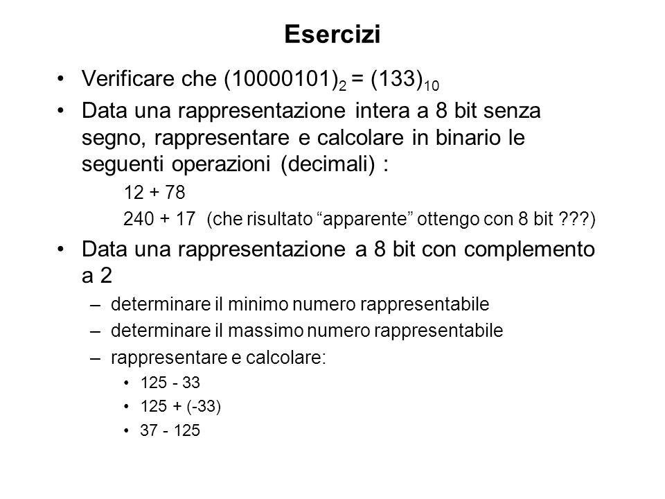 Esercizi Verificare che (10000101)2 = (133)10