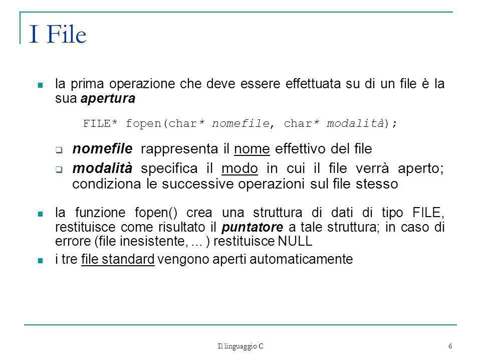 FILE* fopen(char* nomefile, char* modalità);