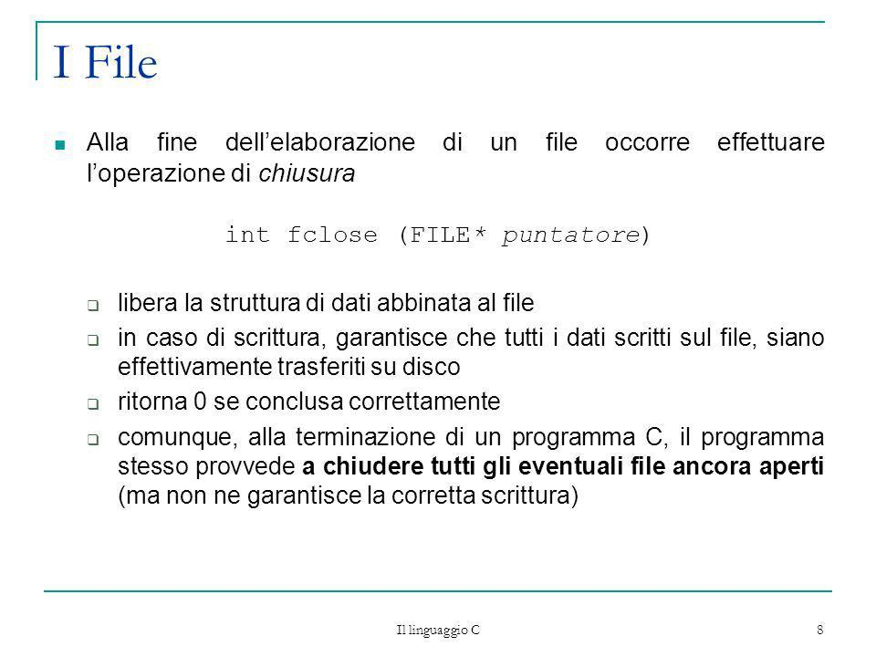 int fclose (FILE* puntatore)