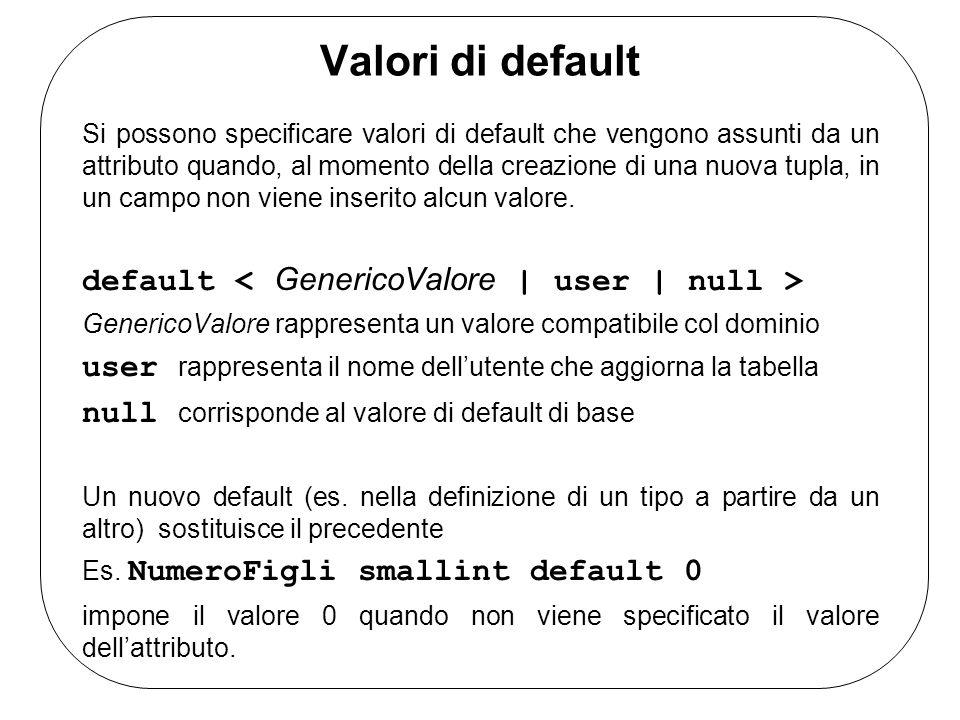 Valori di default default < GenericoValore | user | null >