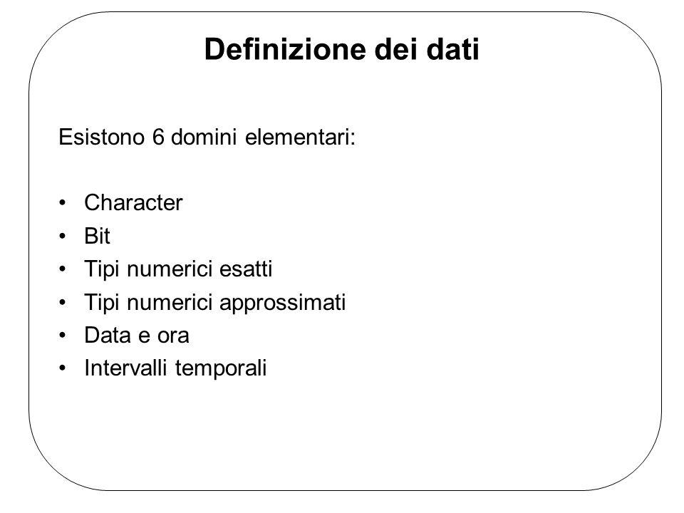 Definizione dei dati Esistono 6 domini elementari: Character Bit