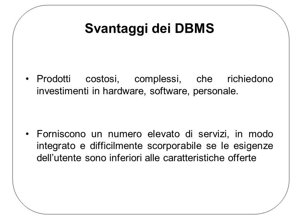 Svantaggi dei DBMS Prodotti costosi, complessi, che richiedono investimenti in hardware, software, personale.