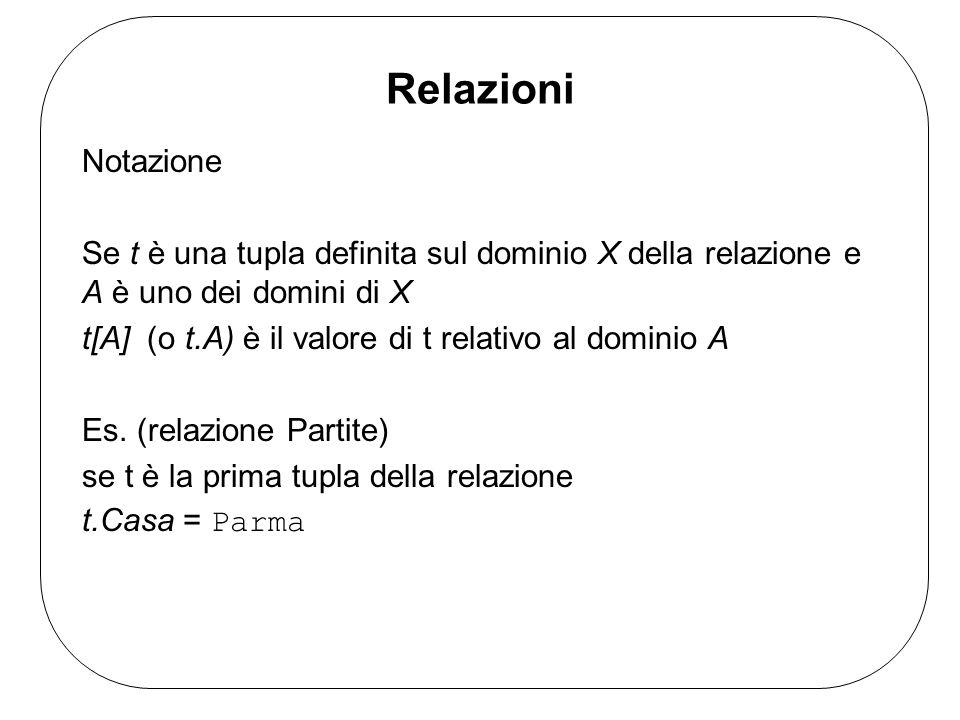 Relazioni Notazione. Se t è una tupla definita sul dominio X della relazione e A è uno dei domini di X.
