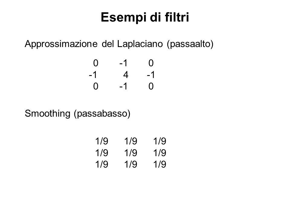 Esempi di filtri Approssimazione del Laplaciano (passaalto) 0 -1 0