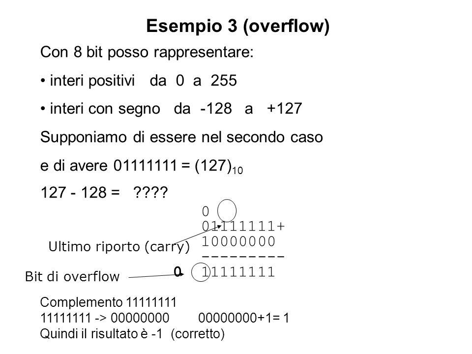 Esempio 3 (overflow) Con 8 bit posso rappresentare: