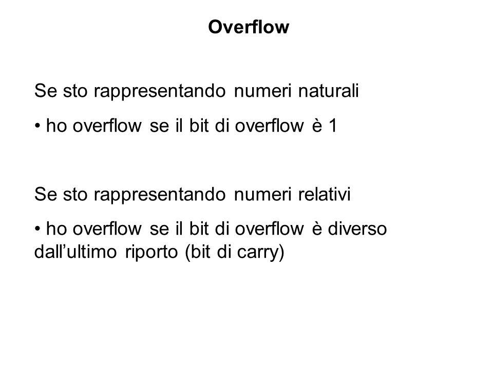 Overflow Se sto rappresentando numeri naturali. ho overflow se il bit di overflow è 1. Se sto rappresentando numeri relativi.