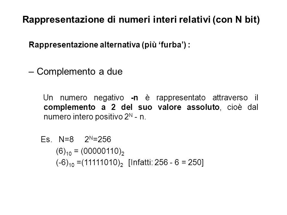 Rappresentazione di numeri interi relativi (con N bit)