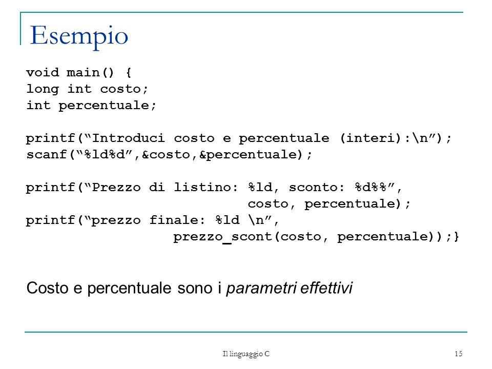 Esempio Costo e percentuale sono i parametri effettivi void main() {