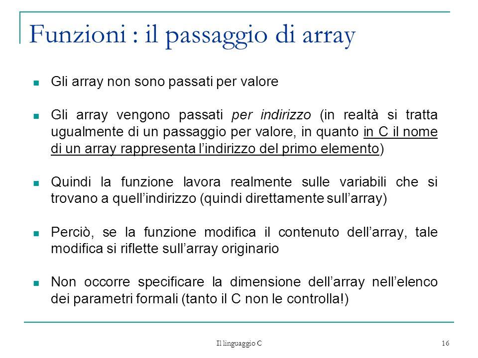 Funzioni : il passaggio di array