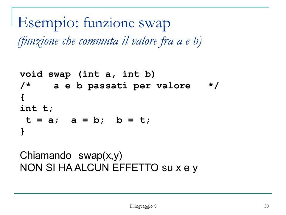 Esempio: funzione swap (funzione che commuta il valore fra a e b)