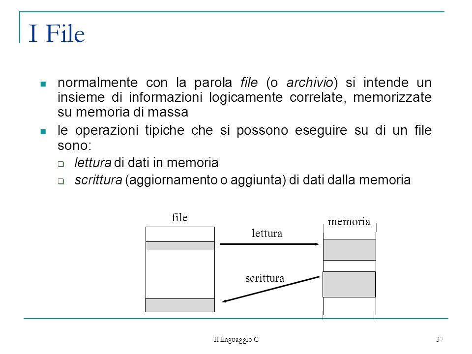I File normalmente con la parola file (o archivio) si intende un insieme di informazioni logicamente correlate, memorizzate su memoria di massa.