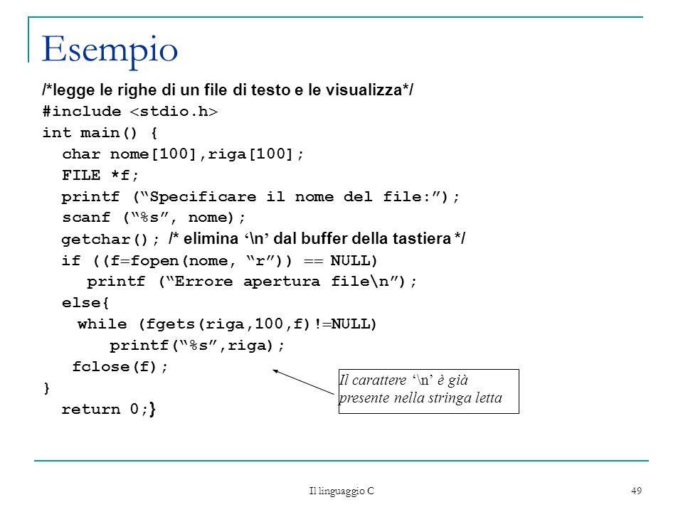 Esempio /*legge le righe di un file di testo e le visualizza*/