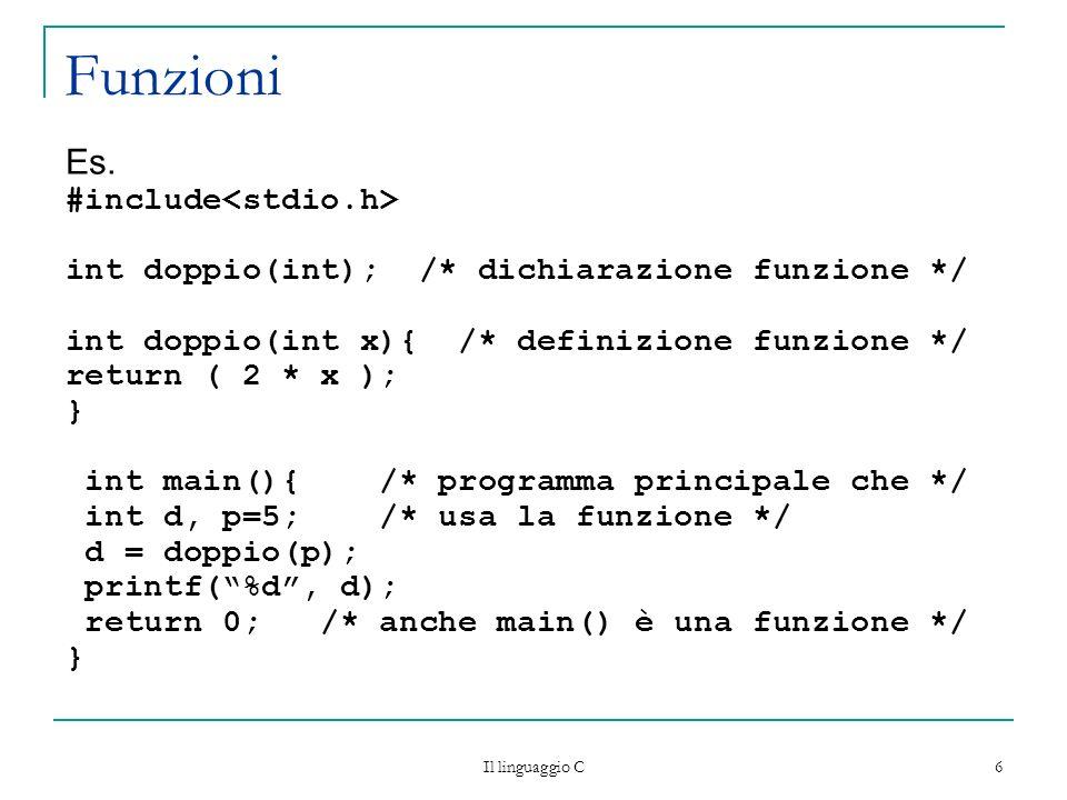 Funzioni Es. #include<stdio.h>