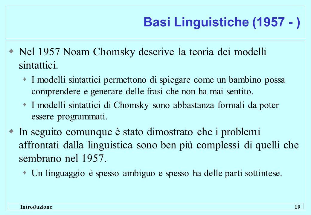 Basi Linguistiche (1957 - ) Nel 1957 Noam Chomsky descrive la teoria dei modelli sintattici.