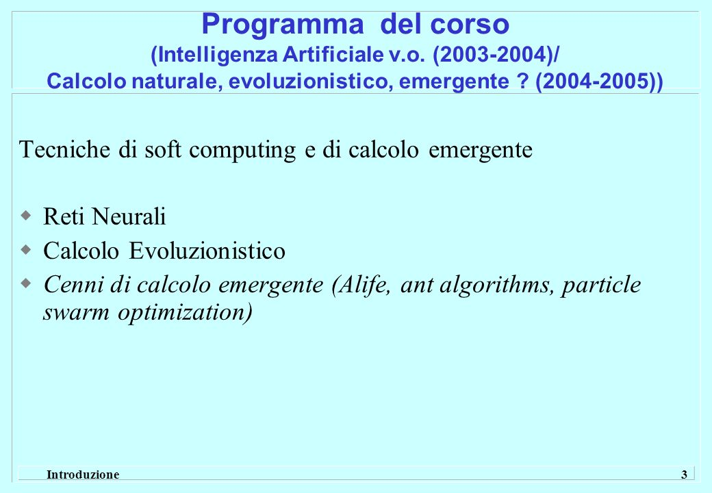 Programma del corso (Intelligenza Artificiale v. o
