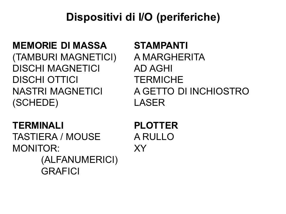 Dispositivi di I/O (periferiche)