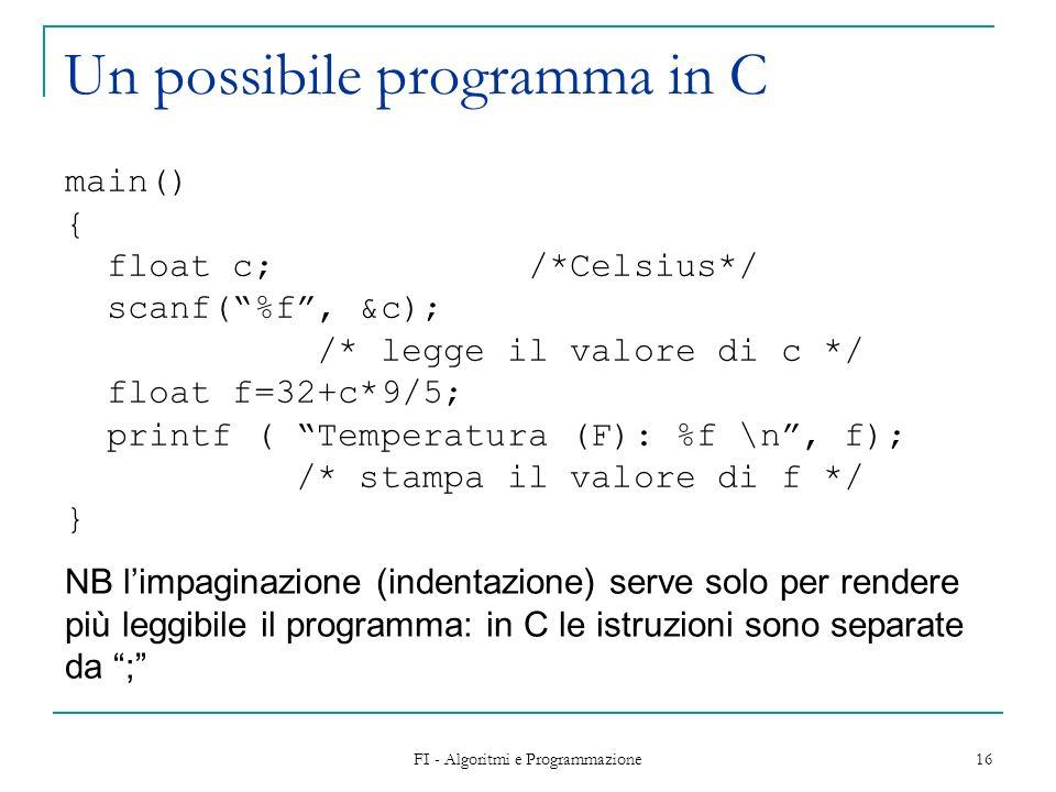 Un possibile programma in C