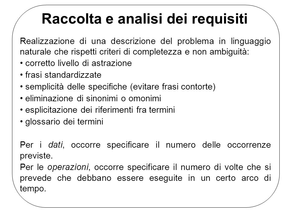 Raccolta e analisi dei requisiti