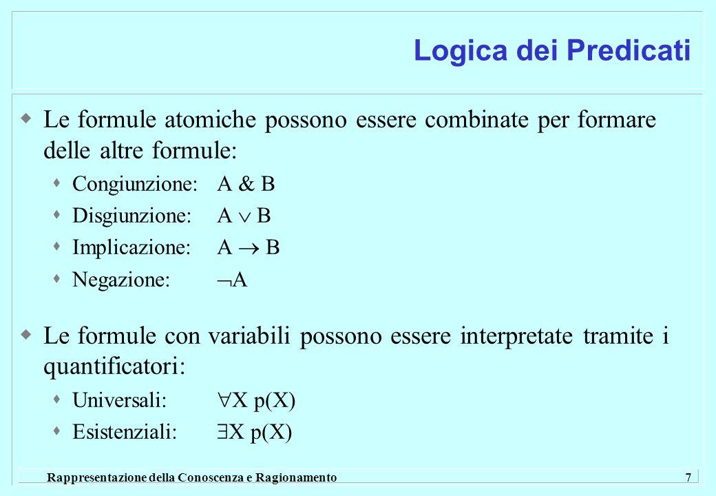 Logica dei PredicatiLe formule atomiche possono essere combinate per formare delle altre formule: Congiunzione: A & B.