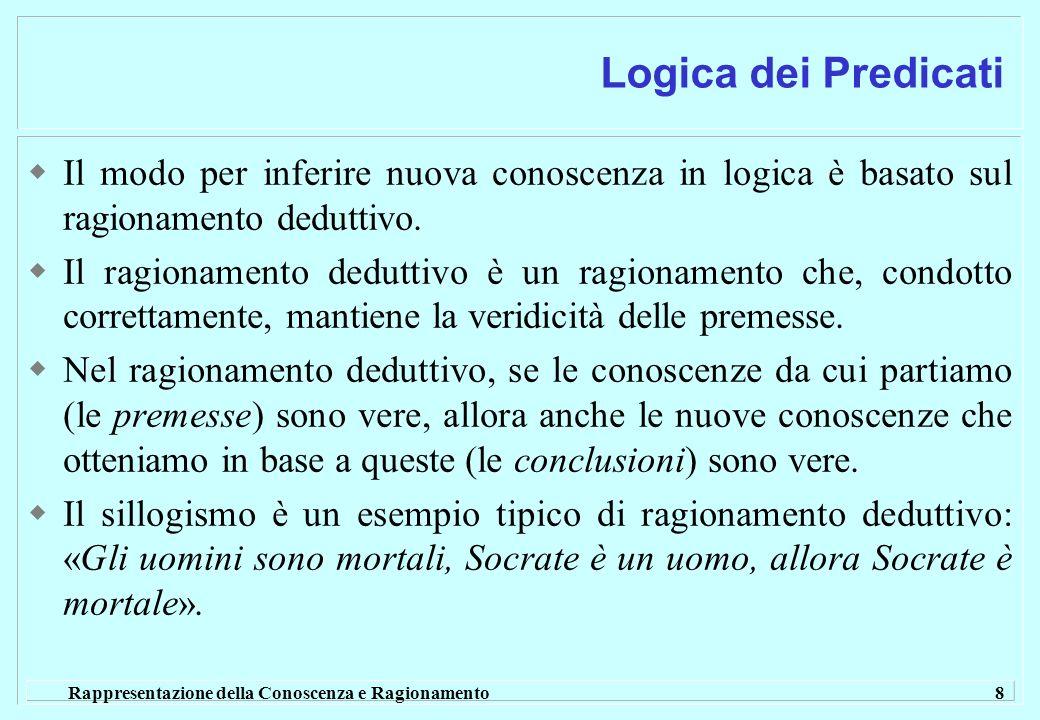 Logica dei Predicati Il modo per inferire nuova conoscenza in logica è basato sul ragionamento deduttivo.