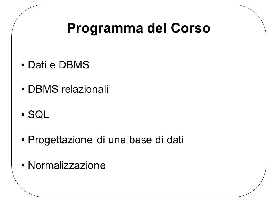Programma del Corso Dati e DBMS DBMS relazionali SQL