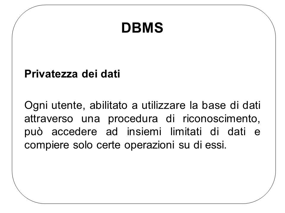 DBMS Privatezza dei dati