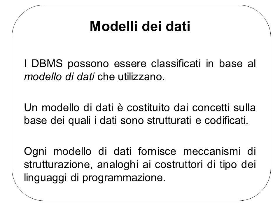 Modelli dei datiI DBMS possono essere classificati in base al modello di dati che utilizzano.