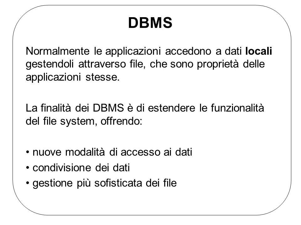 DBMSNormalmente le applicazioni accedono a dati locali gestendoli attraverso file, che sono proprietà delle applicazioni stesse.