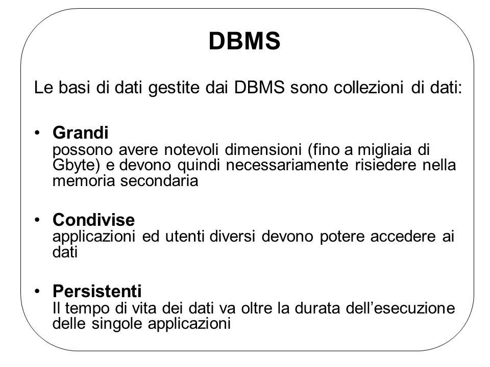 DBMS Le basi di dati gestite dai DBMS sono collezioni di dati: