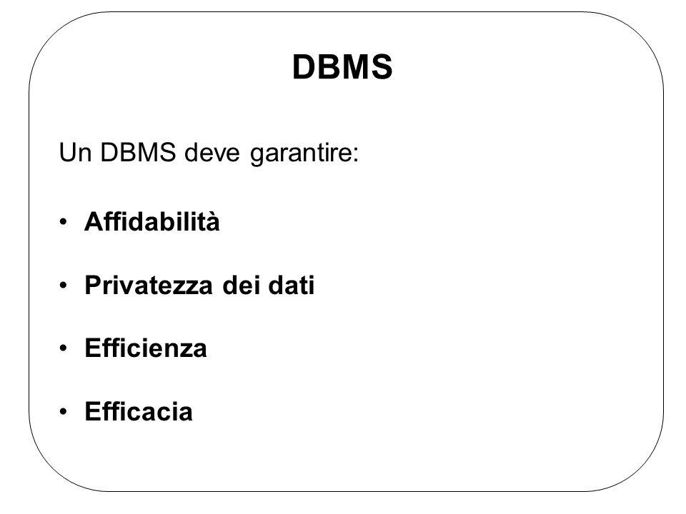 DBMS Un DBMS deve garantire: Affidabilità Privatezza dei dati
